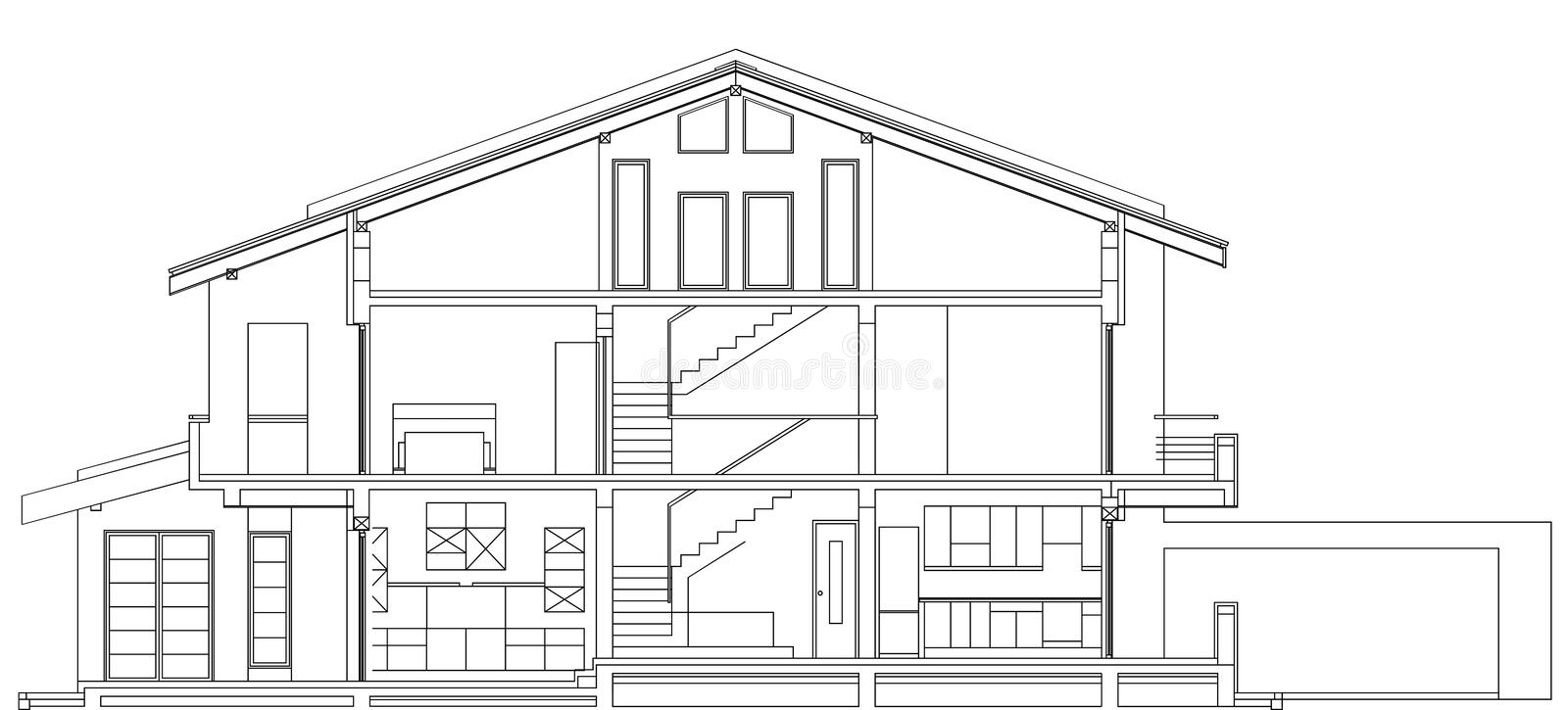 Modern American House Facade Section royalty free illustration