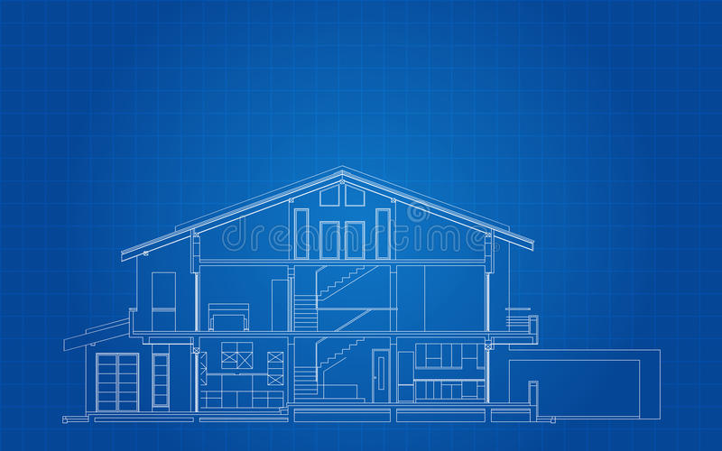 Modern American House Facade Section vector illustration