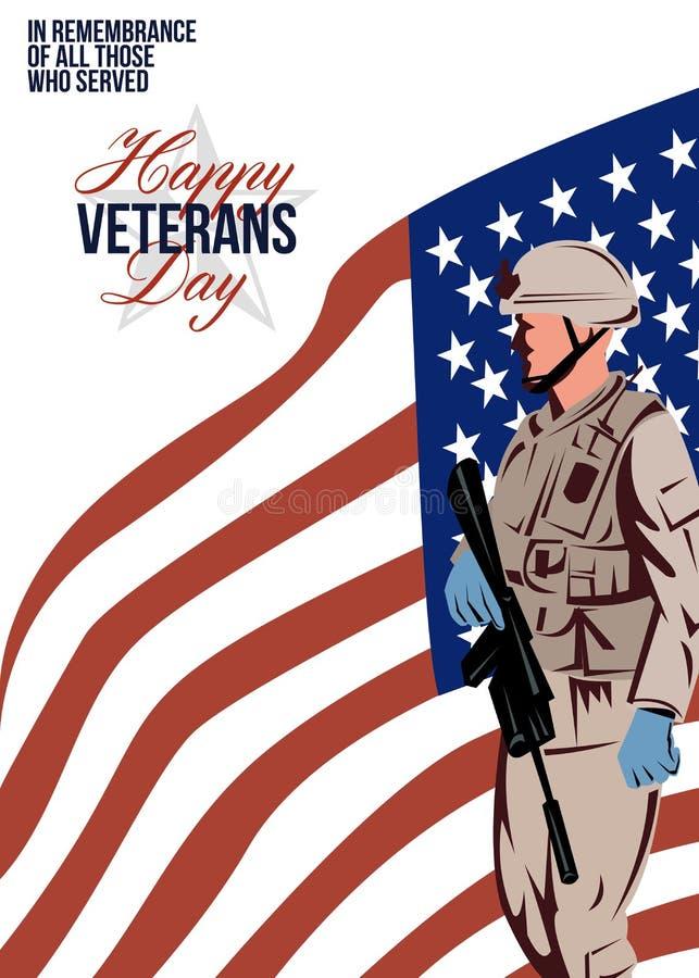 Modern American Veteran Soldier Greeting Card vector illustration