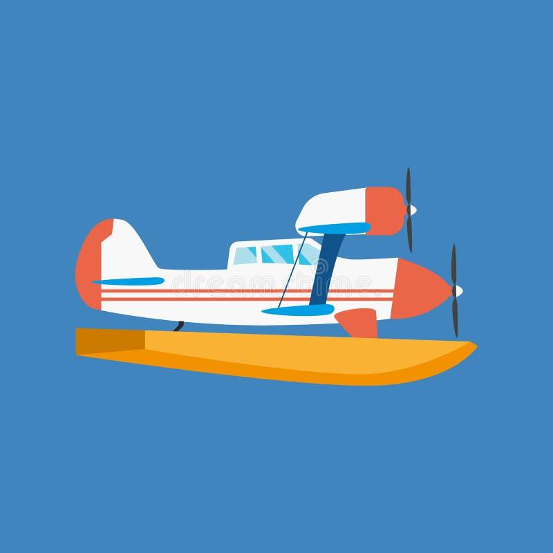 Modern amfibiewatervliegtuig die in lucht drijven en op water drijven vector illustratie