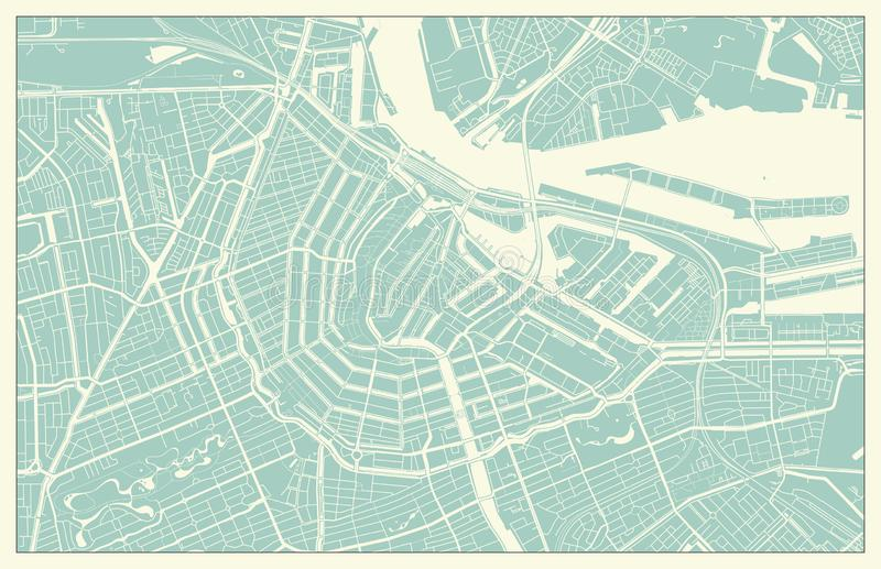Modern Amsterdam Map in Vintage Style royalty free illustration