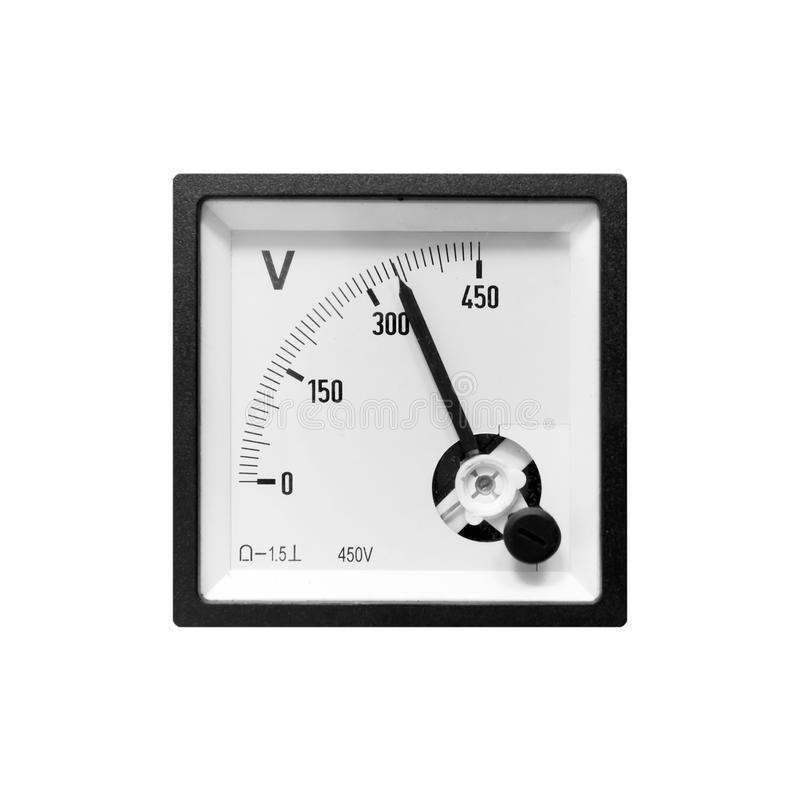 Modern analog electric voltmeter in black frame. Isolated on white background stock photography