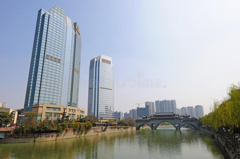 Modern and ancient building in Chengdu royalty free stock photography