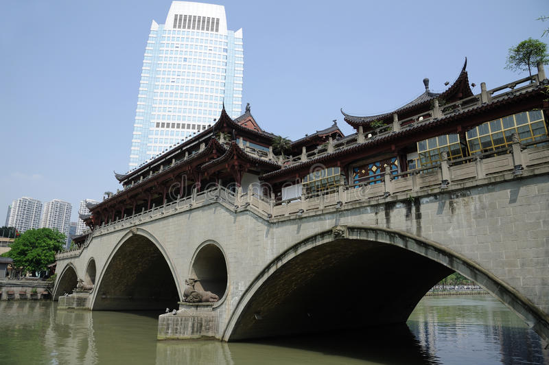 Modern and ancient building in Chengdu. Sichuan,China stock images