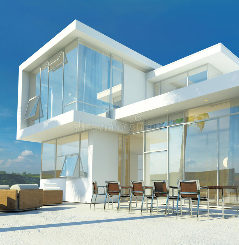 Modern angular luxury tropical villa. Modern angular whitewashed luxury tropical villa with huge glass windows overlooking a paved patio with an outdoor living stock illustration