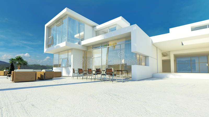 Modern angular luxury tropical villa. Modern angular whitewashed luxury tropical villa with huge glass windows overlooking a paved patio with an outdoor living vector illustration