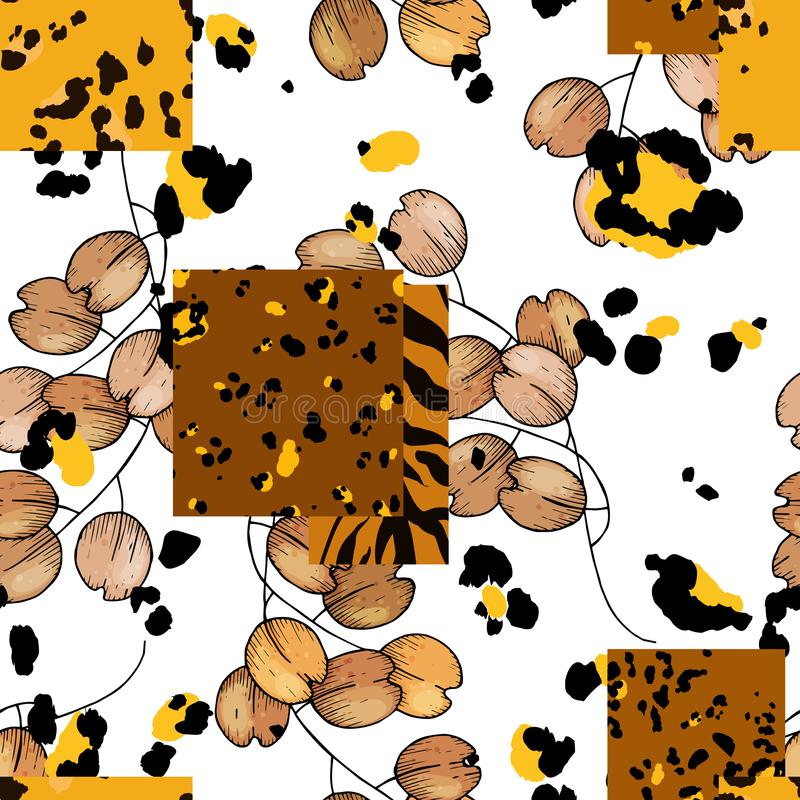 Safari Africa design of leopard and tiger. Vector. Modern animal skin prints and flower hand drawn seamless pattern vector illustration