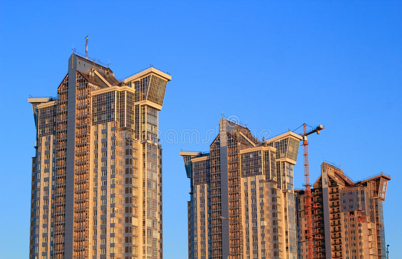 Modern apartment building. City skyscrapers - modern residential area buildings royalty free stock photography