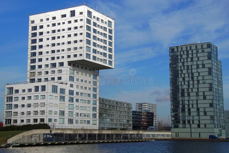 Modern Apartment building cityscape of Almere - skyline royalty free stock photo