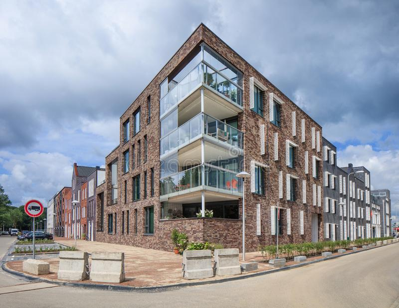 Modern apartment building on a corner, The netherlands royalty free stock photo