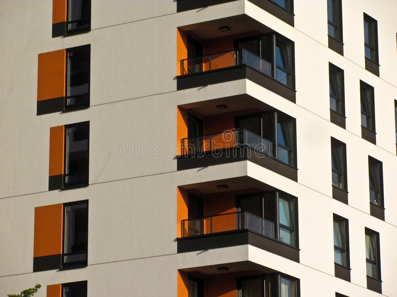 Modern apartment building. Facade, contemporary architecture. Stylish living block of flats. Modern apartment building. Facade contemporary architecture stock images