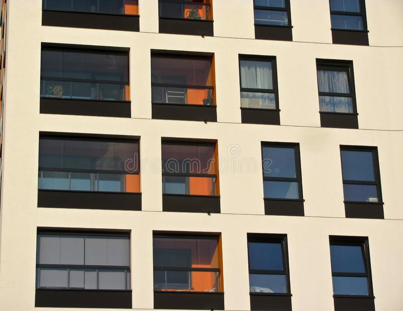 Modern apartment building. Facade, contemporary architecture. Stylish living block of flats. Modern apartment building. Facade contemporary architecture stock image
