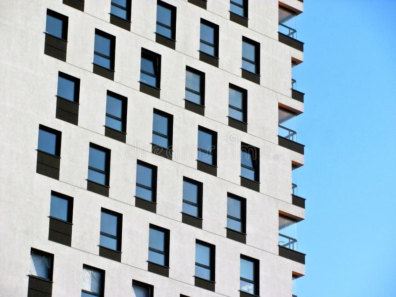 Modern apartment building. Facade, contemporary architecture. Stylish living block of flats. Modern apartment building. Facade contemporary architecture stock photo