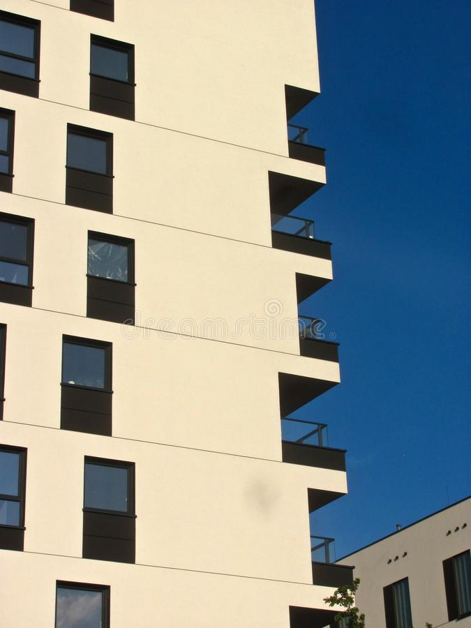 Modern apartment building. Facade, contemporary architecture. Stylish living block of flats. Modern apartment building. Facade contemporary architecture royalty free stock image