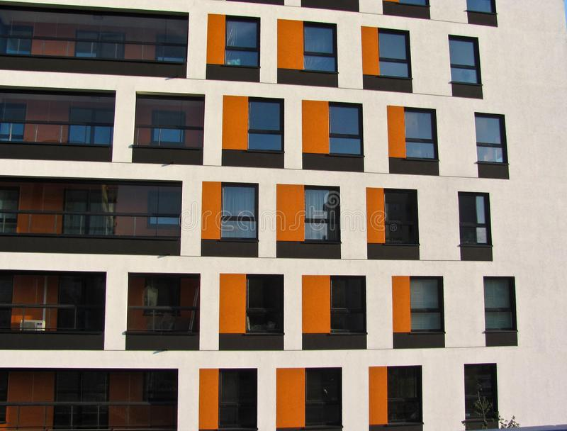 Modern apartment building. Facade, contemporary architecture. Stylish living block of flats. Modern apartment building. Facade contemporary architecture stock photos