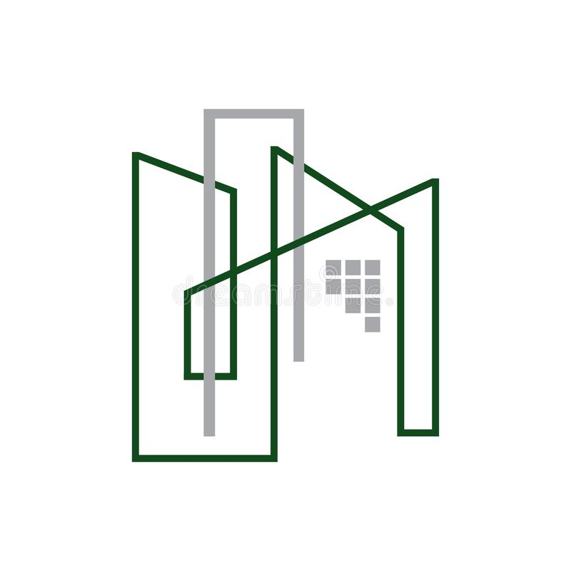Modern Apartment building icon in flat line illustration. Commercial, condo, home, house, linear, logo, mortgage, office, outline, ownership, pictogram vector illustration