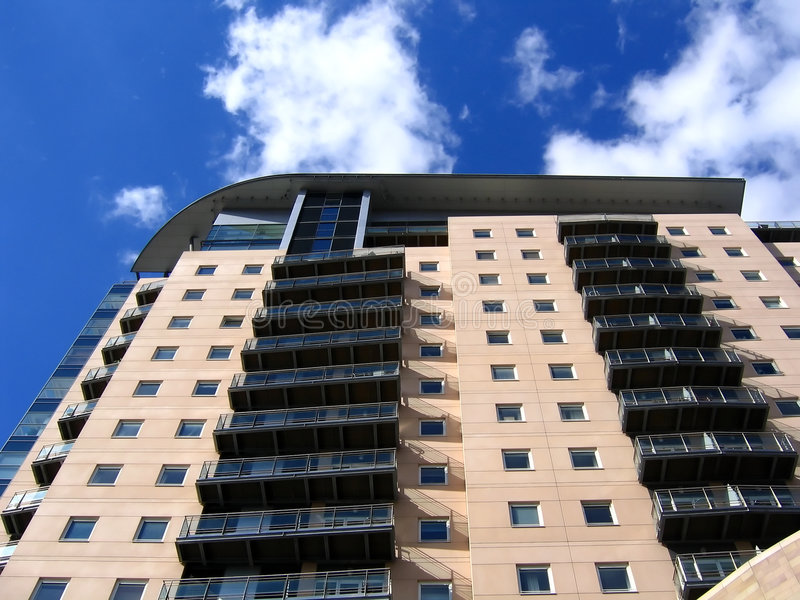 Modern Apartment Building in Manchester stock images