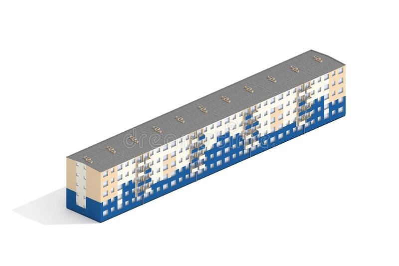 Modern Apartment building rendered in Isometric on White background. royalty free illustration