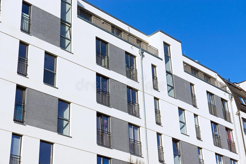 Modern apartment building. A modern apartment building seen in Berlin royalty free stock photo