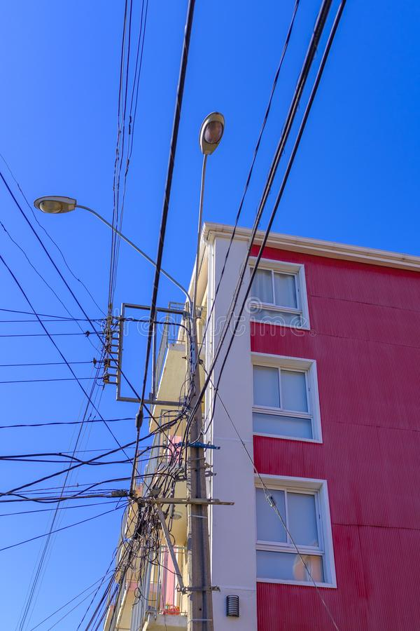 Modern apartment block with a lot of wiring royalty free stock photography