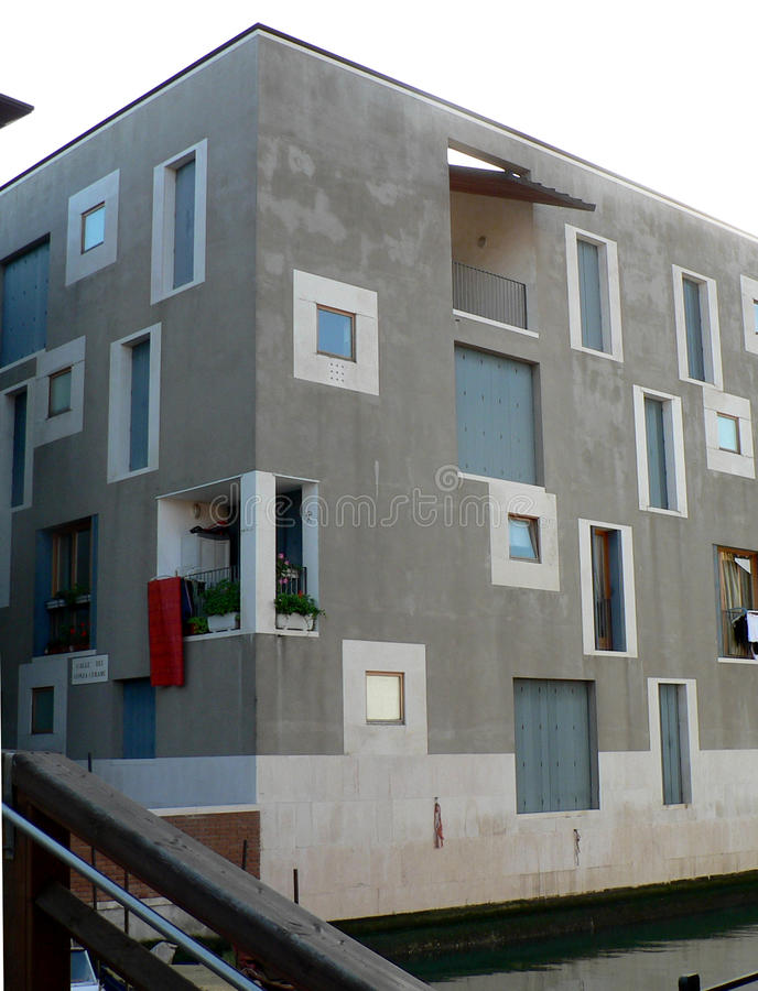 MODERN APARTMENT BUILDING IN VENICE ITALY ELEVATIONS SHADOW A LOT OF WINDOWS DIFFERENT SIZES
