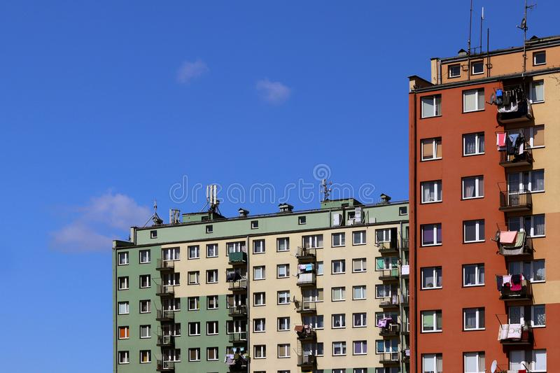 Modern apartment buildings. Architecture of the late Soviet period. Colorful architecture of the modern city. The dwelling house i royalty free stock images