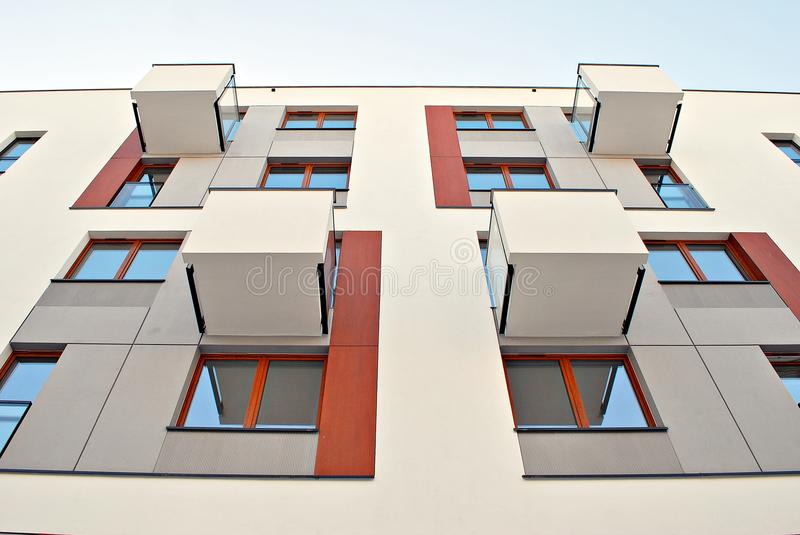 Modern apartment buildings exteriors. Facade of a modern apartment building. Architectural details of modern apartment building.Abstract closeup of the glass stock photo