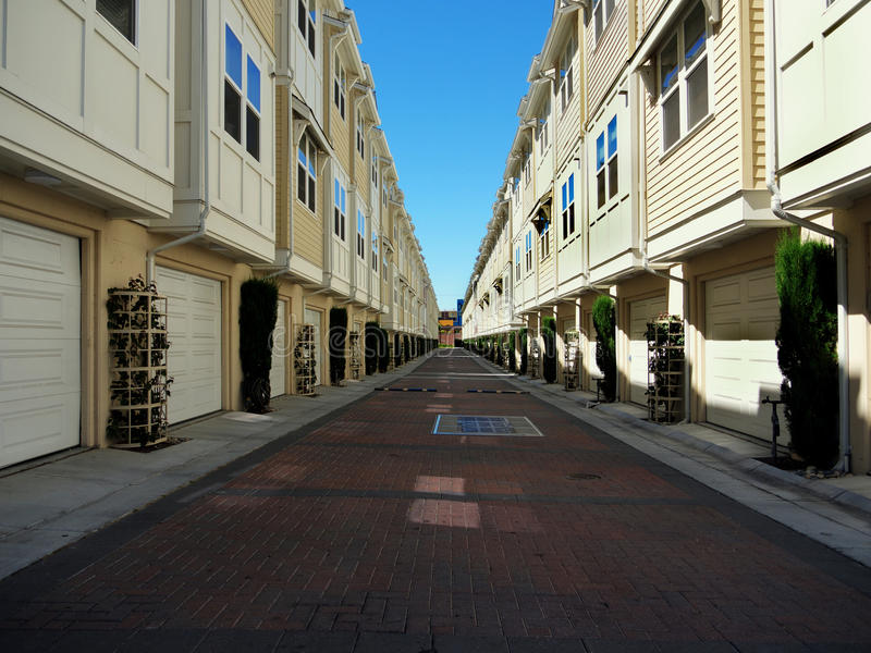 Modern apartment buildings facing each other royalty free stock photo