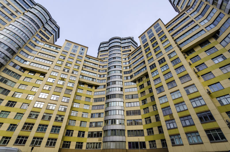 Modern apartment buildings in the new district of Moscow. In sunny day royalty free stock image