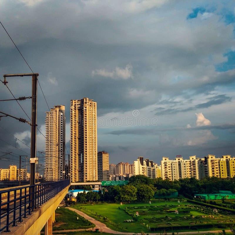 Modern apartment buildings,Noida, India. Noida,India - June 12,2018: Modern apartment buildings in Noida stock image