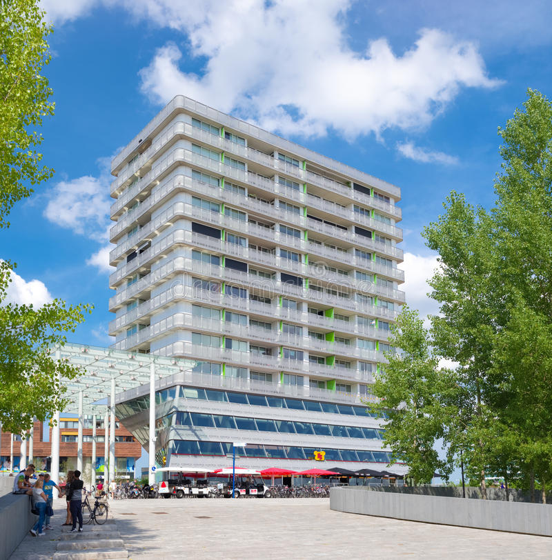 Modern apartment. Facade of a modern apartment building in Almere, netherlands. It is the youngest and fastest growing city in the country, founded around 1975 royalty free stock photos