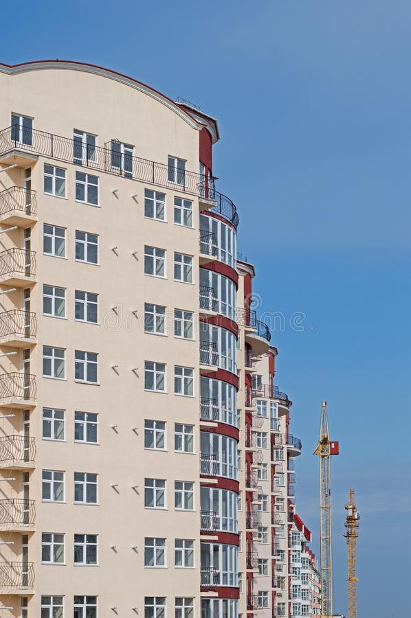 Modern apartment house. Modern, new executive apartment building in Kerch stock photo