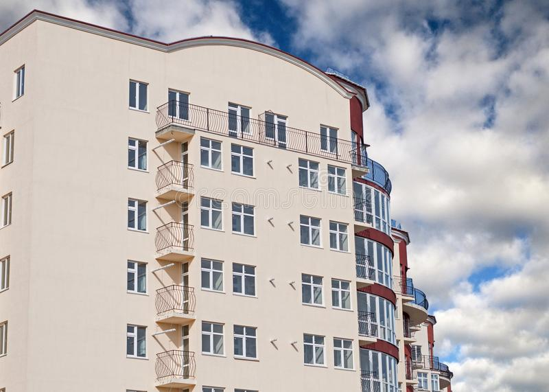Modern apartment house. Modern, new executive apartment building in Kerch royalty free stock photo