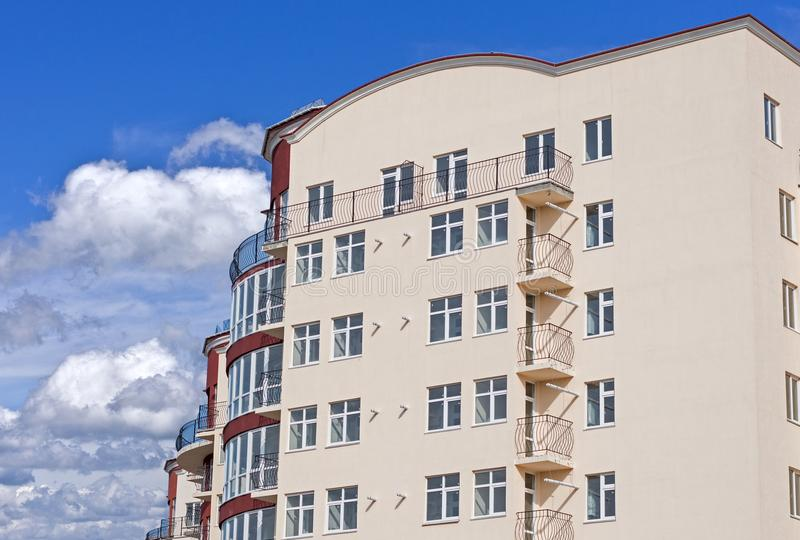 Modern apartment house. Modern, new executive apartment building in Kerch stock image