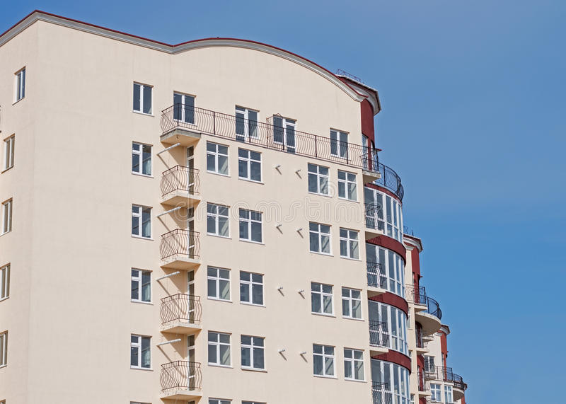 Modern apartment house. Modern, new executive apartment building in Kerch stock photos