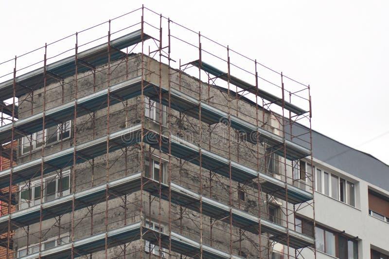 Apartment houses renovation site royalty free stock photos