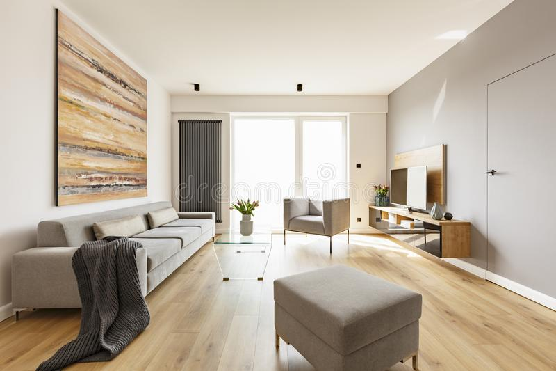 Modern apartment interior with a grey sofa, footstool and armcha. Ir, wooden floor, tv and colorful graphic Photo concept stock image