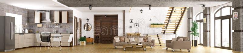 Modern apartment interior panorama 3d render royalty free illustration