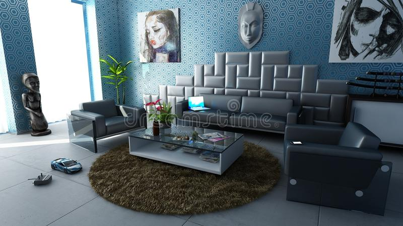 Modern apartment living room royalty free stock image