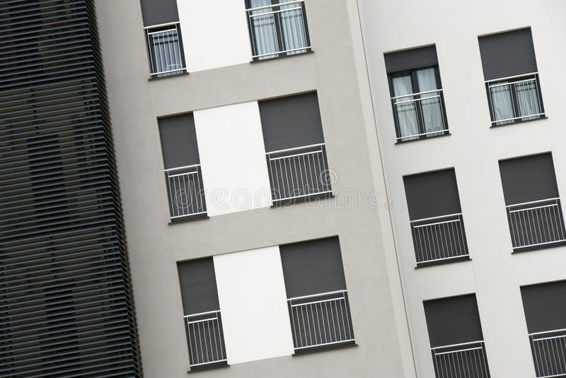 Modern apartments. A modern apartments building - front view royalty free stock photo