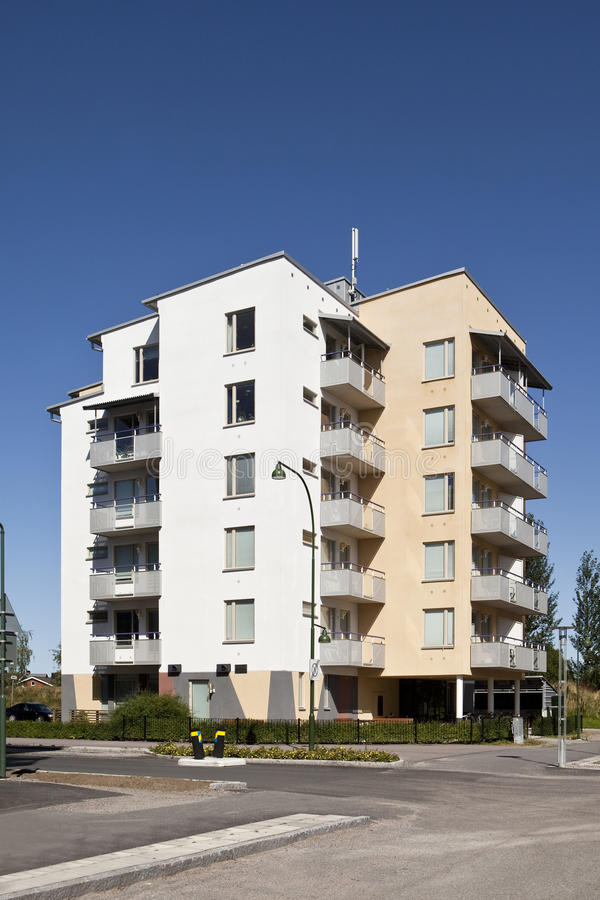 Modern apartments. With a blue sky background royalty free stock image