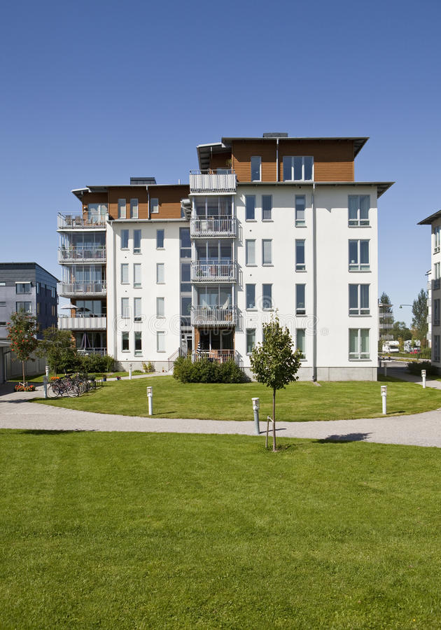 Modern apartments. With a blue sky background stock photo