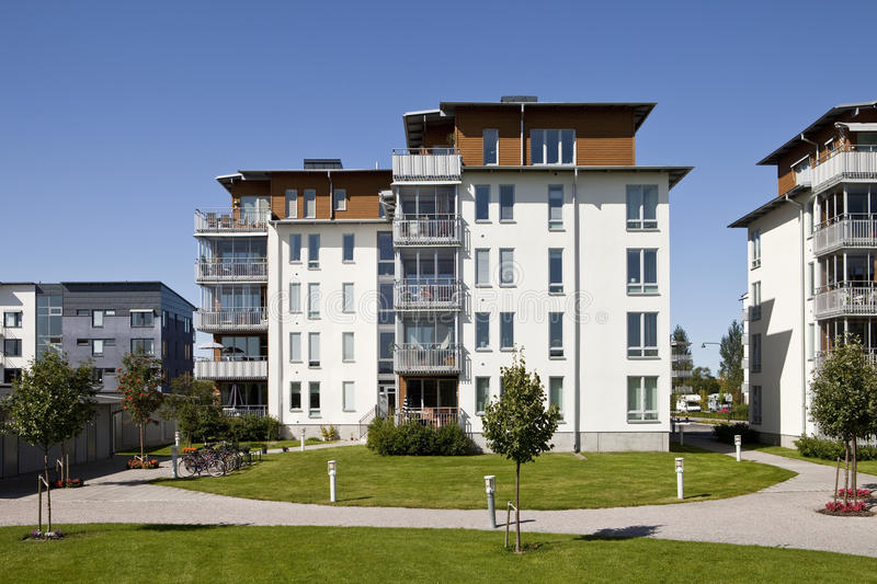 Modern apartments. With a blue sky background stock photography