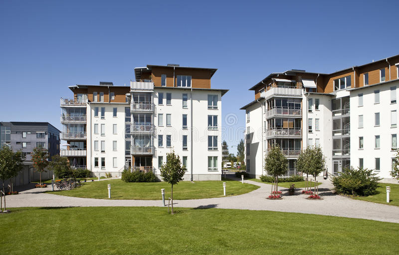 Modern apartments. With a blue sky background stock image