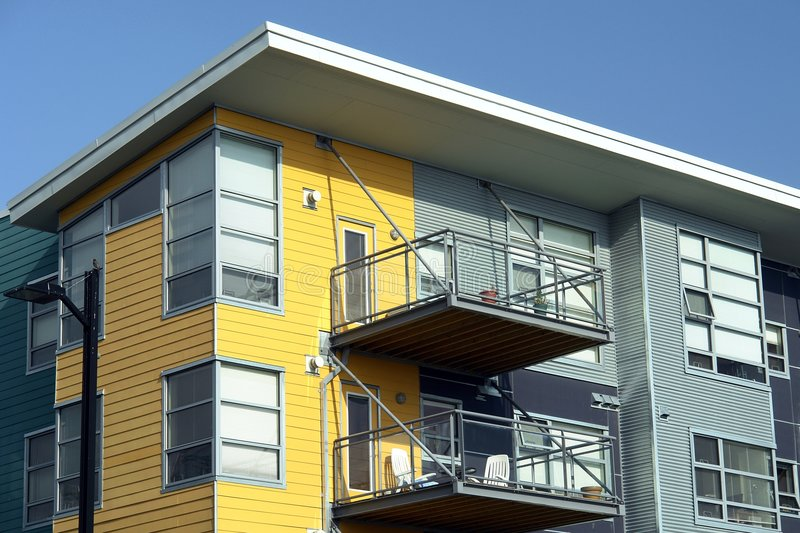 Modern Apartments. New modern style apartments built in Victoria, British Columbia stock image