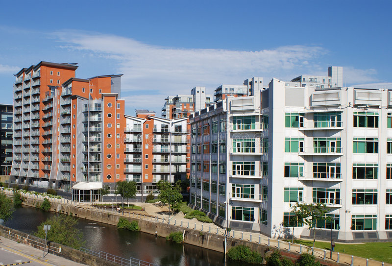 Modern Apartments. Modern Canal Side Apartments, Leeds UK stock photos