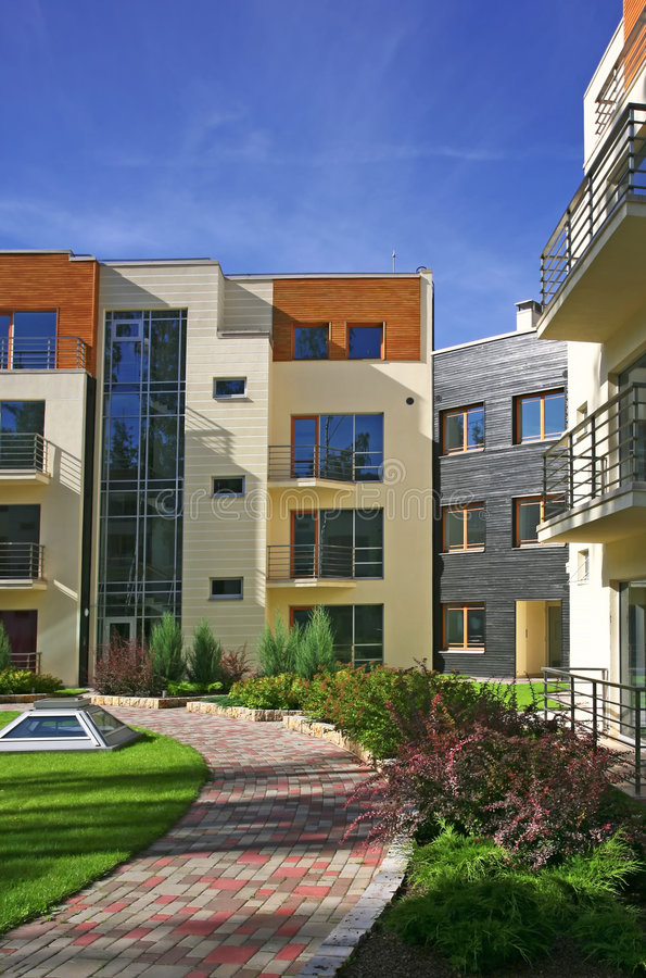 Modern apartments. Just built modern apartments in Jurmala, Latvia royalty free stock images