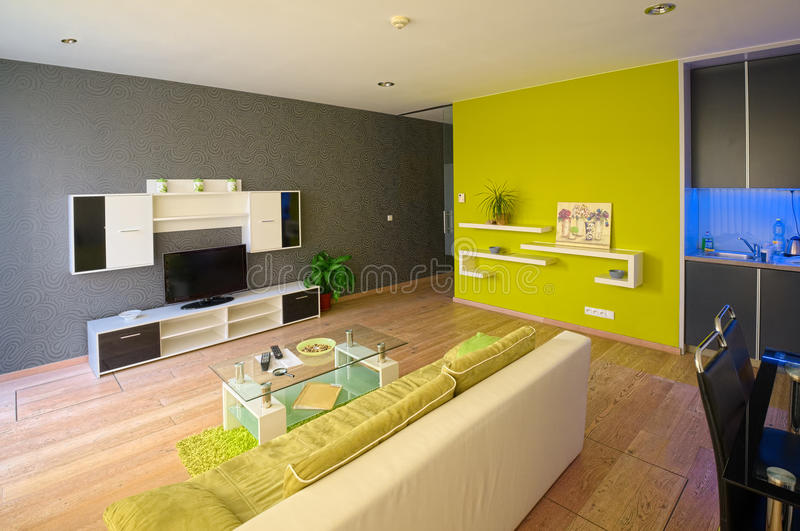 Modern apartments. An attractive interior of a modern apartments. The idea of design is conjunction of dark surfaces with colored panels and geometric simplicity royalty free stock photos