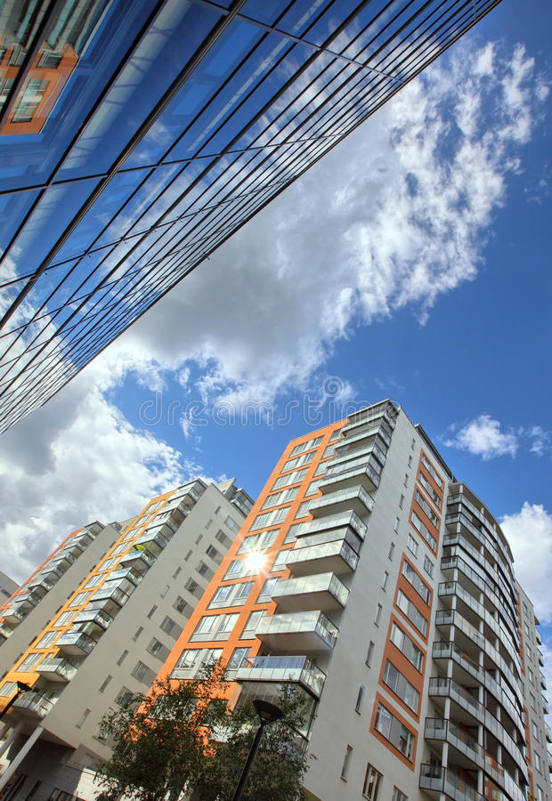 Modern apartments. With a blue sky royalty free stock image