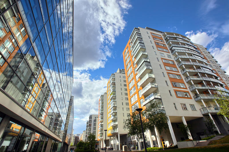 Modern apartments. With a blue sky royalty free stock photos